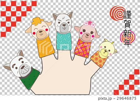 杂物 玩具 洋娃娃 新年贺卡模板 手指布偶 洋娃娃  *pixta限定素材仅
