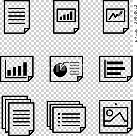 黑白 单色 首页 插图 文具 纸 文件 图标 黑白 单色  *pixta限定素材
