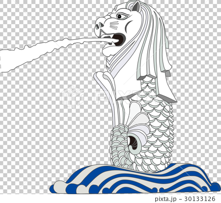 图库插图: 矢量 鱼尾狮 新加坡