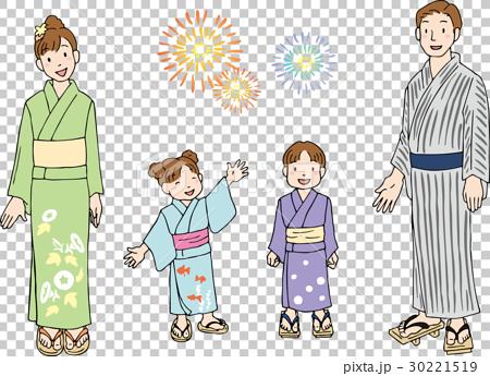 图库插图: 夏季和服 人 人物