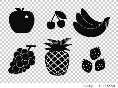 插图素材: 食物剪影(水果)