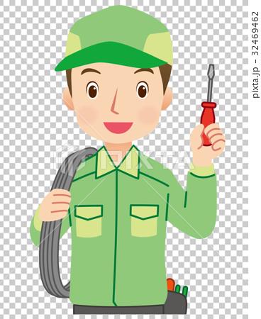 图库插图: 电工 电力工人 员工