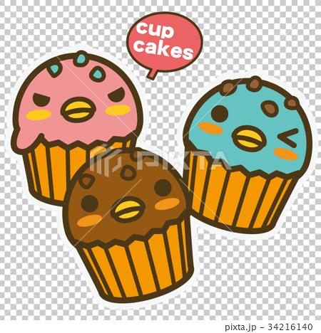 图库插图: 企鹅 纸杯蛋糕 杯子蛋糕