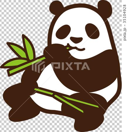 图库插图: 矢量 熊猫 竹叶草