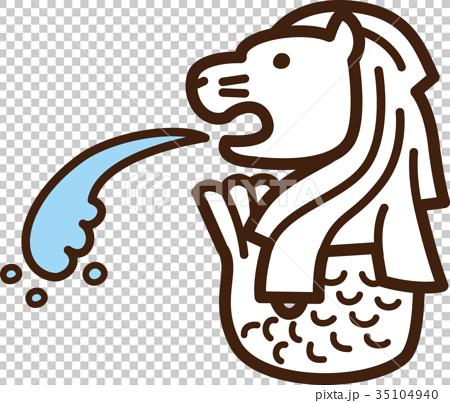 图库插图: 矢量 鱼尾狮 旅游胜地