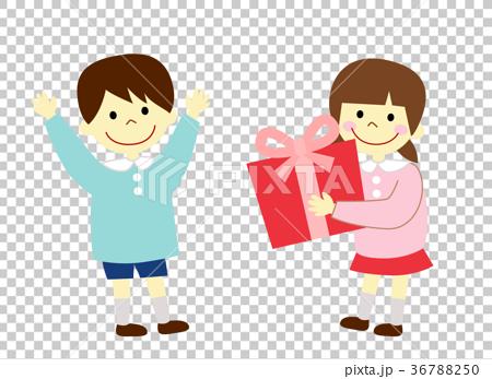 图库插图: 幼儿园儿童 礼物 送礼