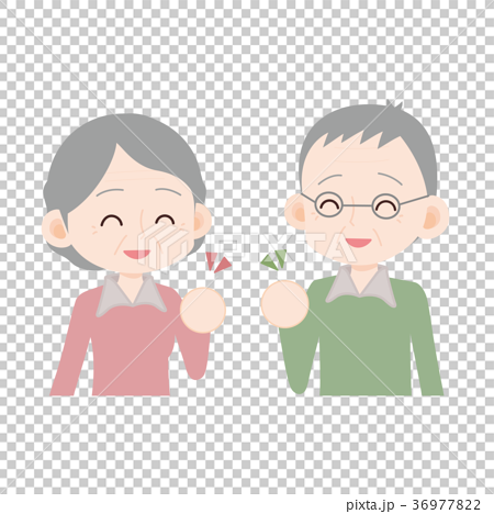 插图 姿势_表情_动作 姿势 握拳 老年夫妇 握拳 干劲  *pixta限定素材