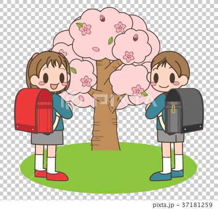 图库插图: 樱桃树 樱花树 儿童