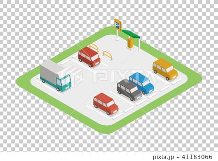 交通设施_建筑 停车场 停车场 停车位 三维  *pixta限定素材仅在pixta