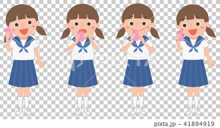 插图素材: 夏装 少女 面部表情