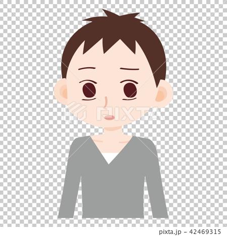 插图素材: 一个男人的眼睛不笑他男性非情绪无表情的脸