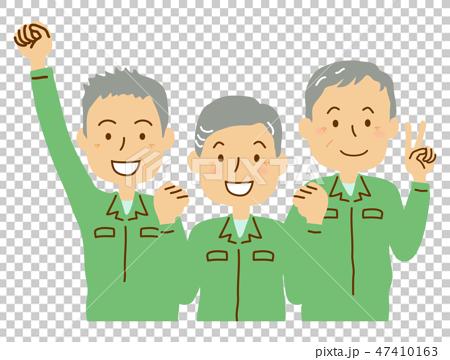 插图素材: 老人工作服三个人绿色