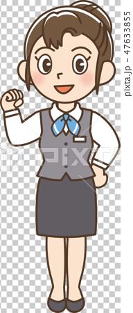 插图素材: 企业制服妇女肠道姿势