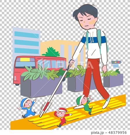 走路的男孩,当检查与白色藤茎的盲人块和引导它的矮人