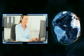 Earth turning next to a video of women making calls with Earth image courtesy of Nasa,org