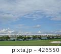 芝生 河川敷 青空の写真 426550