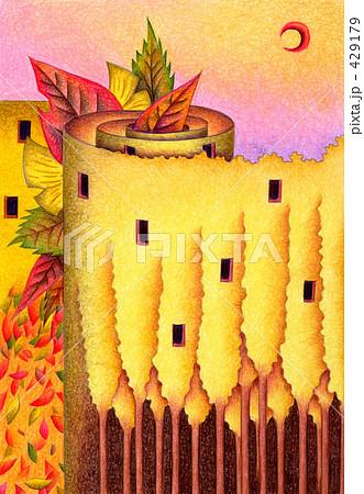 建物イラスト「落ち葉の塔」 429179
