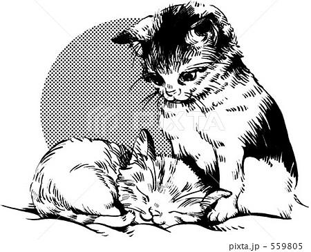 猫モノクロ1のイラスト素材