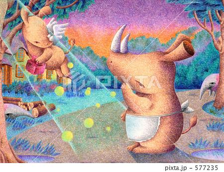 動物イラスト - サイの親子.3 577235