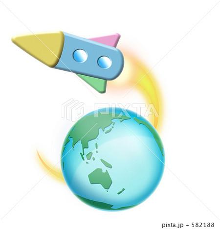 宇宙船 地球 ロケットのイラスト素材 582188 Pixta