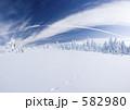 雪景色 足跡 雪原の写真 582980