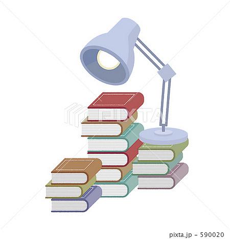ブック 片付け ポップ 本 大掃除 書庫 電気スタンド かわいい イラスト のイラスト素材 5900