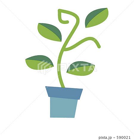 鉢植え 観葉植物 葉 ポップ 植木 緑色 かわいい のイラスト素材