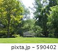 芝生 デッキチェア 公園の写真 590402