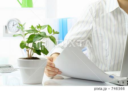 デスクワーク 書類を見てデーター入力をする女性 746366