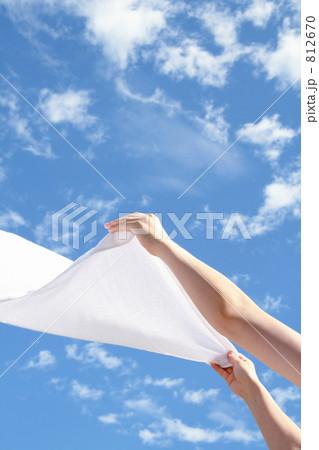 晴天に洗濯物を干す女性の手 812670