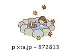 岩風呂 入浴 紅葉のイラスト 872813