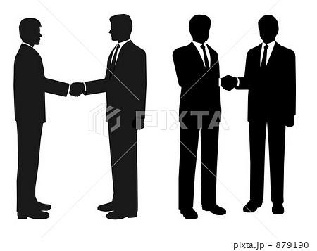 シルエットイラスト ビジネスマン握手のイラスト素材 879190 Pixta