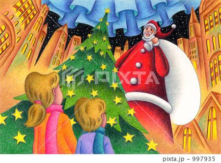 大きなサンタとクリスマスツリー 997935