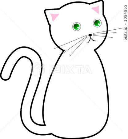 見返り白猫のイラスト素材 1084865 Pixta