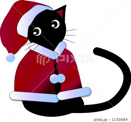 ケープを着た黒猫サンタのイラスト素材 1130884 Pixta