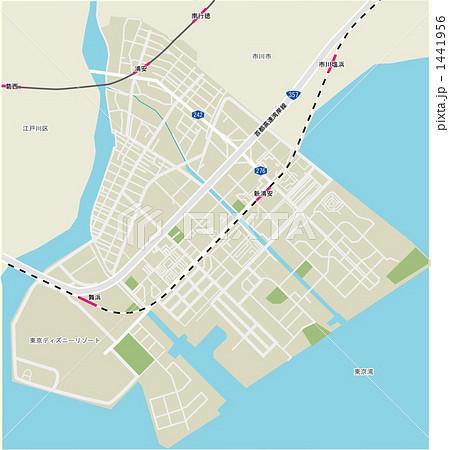 千葉県浦安市の地図のイラスト素材 [1441956] , PIXTA