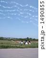 飛行機雲を見上げる子供 1490855