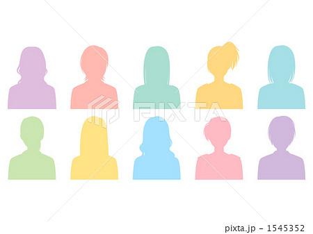 女性10人カラフルシルエットのイラスト素材 1545352 Pixta