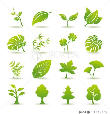 植物アイコンセットのイラスト素材 1549769 Pixta