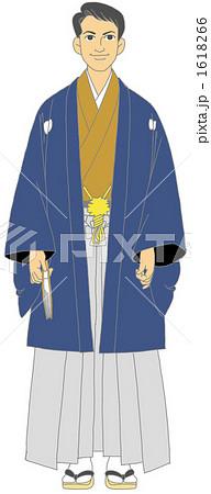 男性 着物 和服のイラスト素材 1618266 Pixta