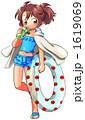 水着の女の子・浮き輪と飲料ボトル所持 1619069