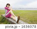 若い女性 ジョギング ストレッチの写真 1636078