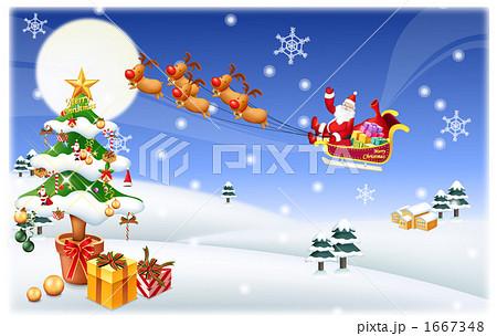 サンタクロース クリスマスツリー クリスマスのイラスト素材 1667348