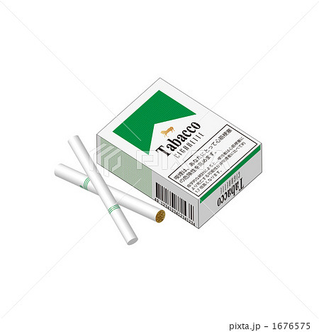 タバコの箱と2本の煙草のイラストのイラスト素材 [1676575] - PIXTA