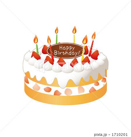 バースデーケーキのイラストのイラスト素材 1710201 Pixta