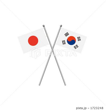 日本と韓国の国旗のイラスト ...