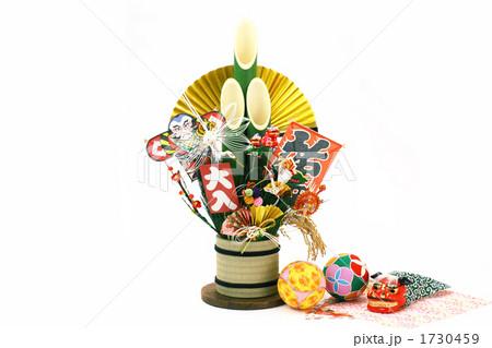 正月 門松 金扇子 マリ 横 (白バック) 1730459