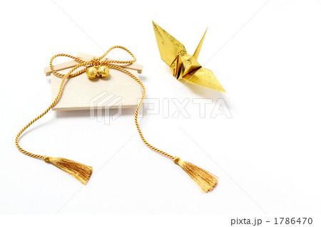 金色の房紐と鈴のある絵馬 金の鶴 右 1786470