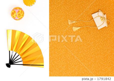 金色の扇子と絵馬と鞠 横 風呂敷バック 1791842