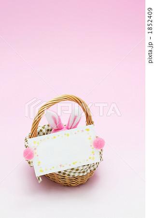 メッセージカードとウサギ ピンク 1852409